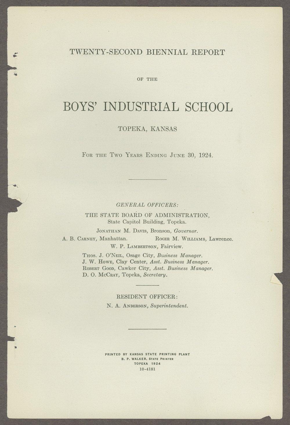Biennial report of the Boys Industrial School, 1924 - 1