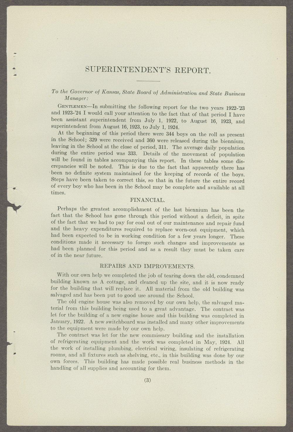 Biennial report of the Boys Industrial School, 1924 - 3