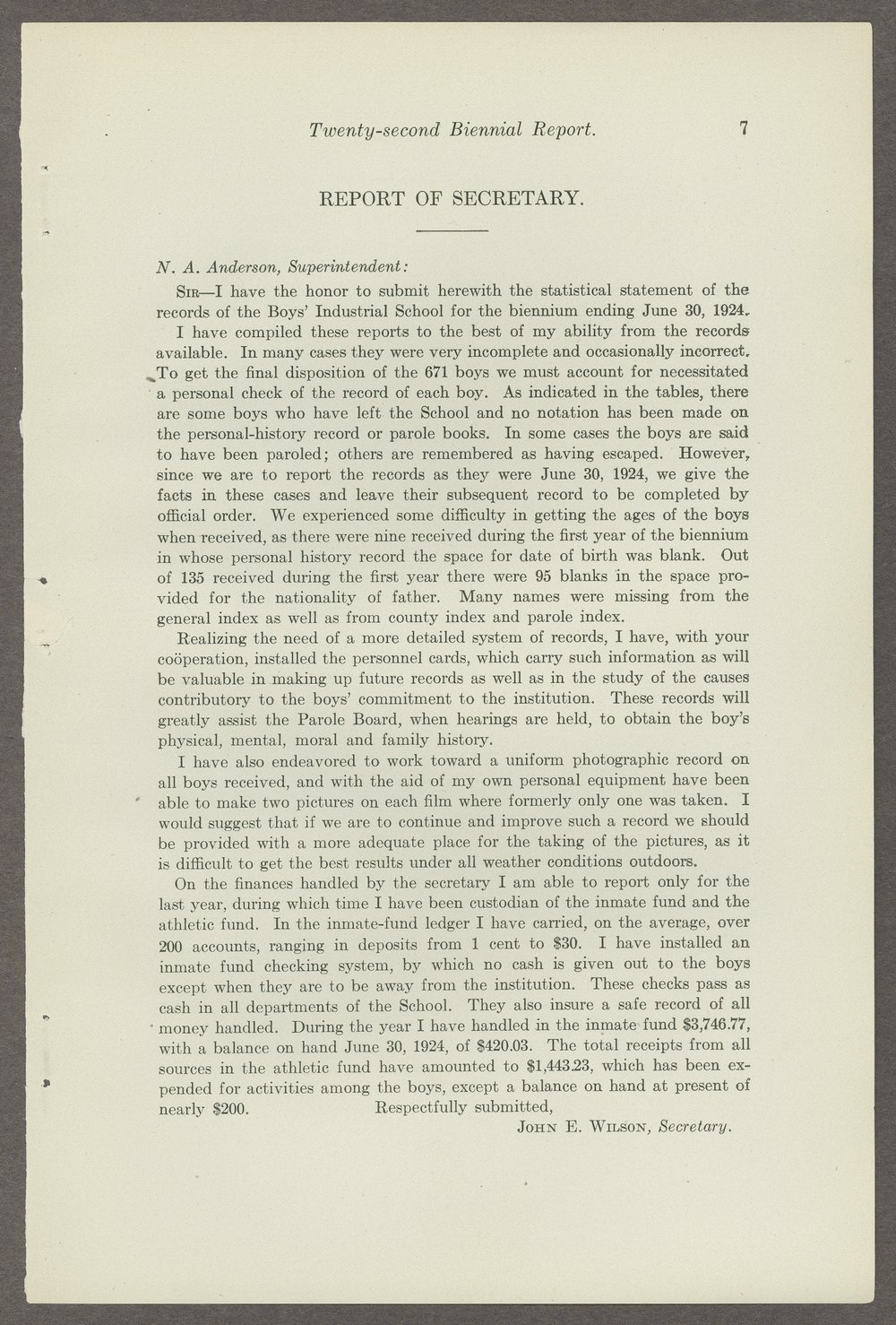 Biennial report of the Boys Industrial School, 1924 - 7
