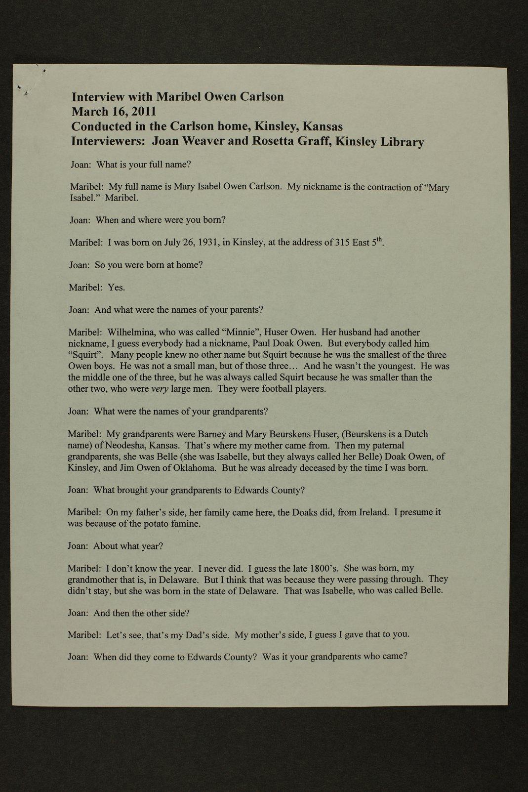 Maribel Carlson interview, Kinsley, Kansas - 1