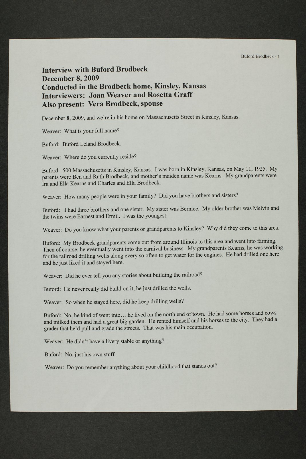 Buford Brodbeck interview, WWII oral history, Kinsley, Kansas - 1