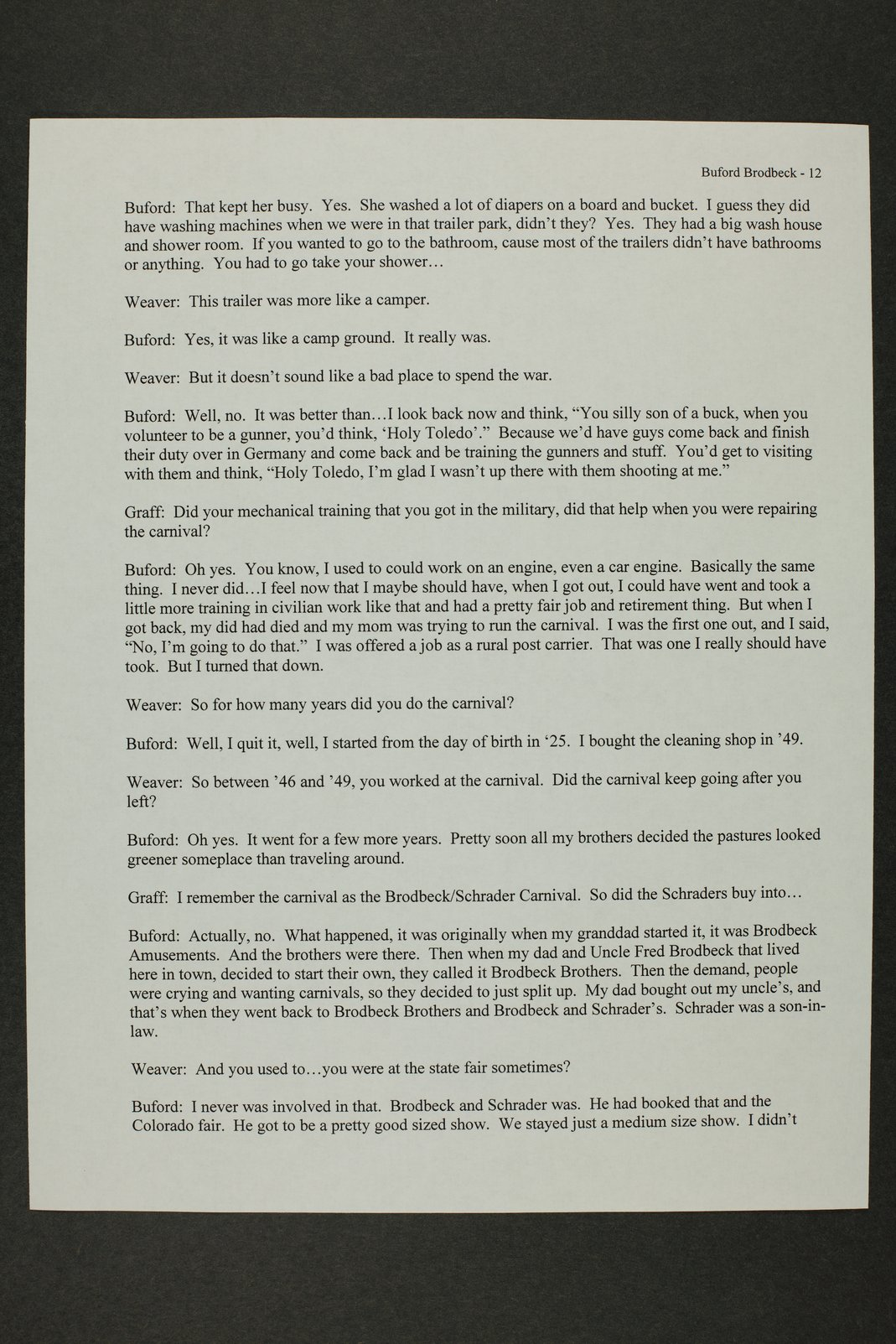 Buford Brodbeck interview, WWII oral history, Kinsley, Kansas - 12