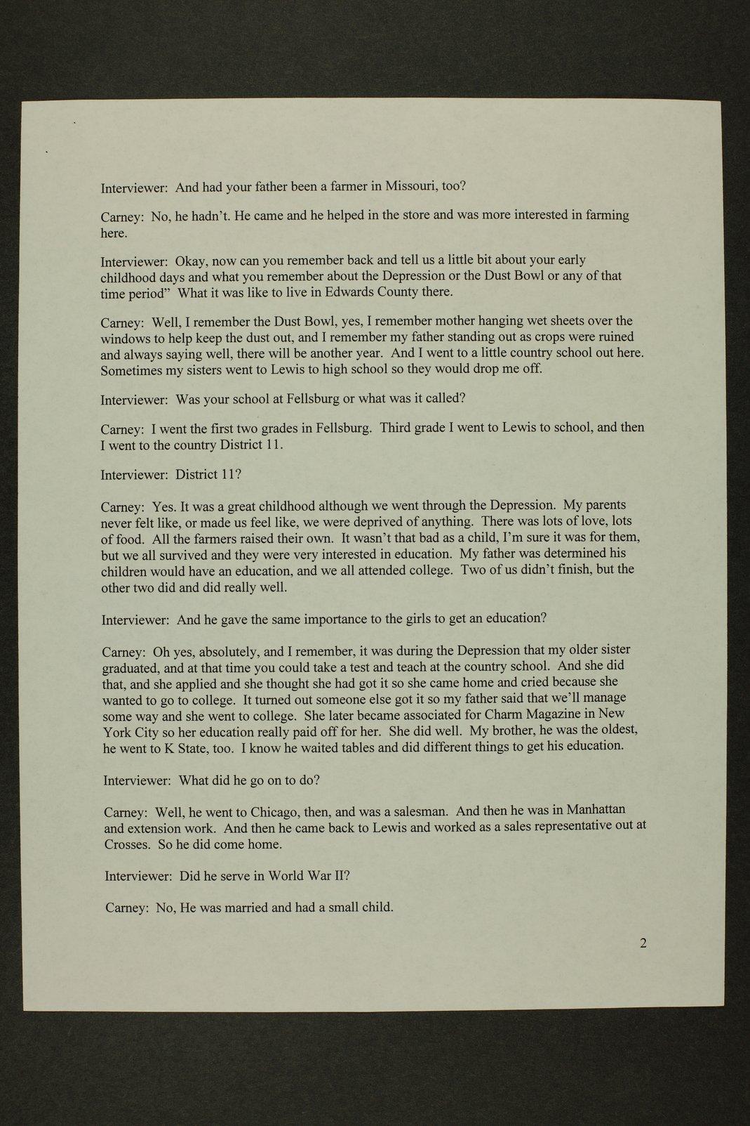 Kathleen Carney interview, WWII oral history, Lewis, Kansas - 2