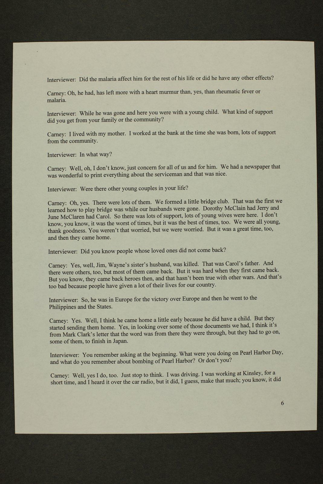 Kathleen Carney interview, WWII oral history, Lewis, Kansas - 6