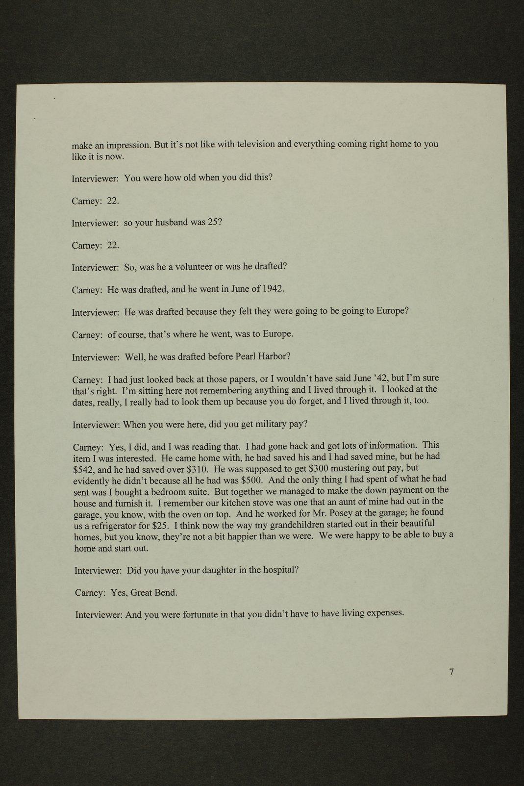 Kathleen Carney interview, WWII oral history, Lewis, Kansas - 7