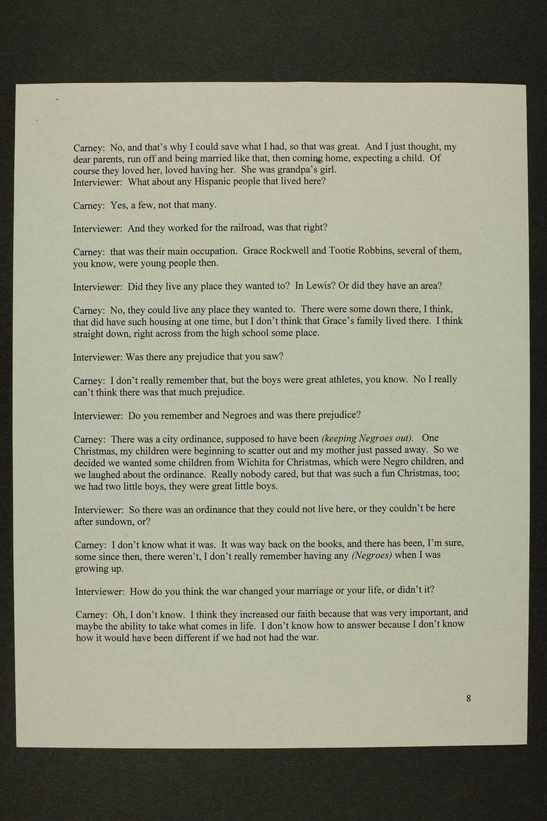 Kathleen Carney interview, WWII oral history, Lewis, Kansas - 8