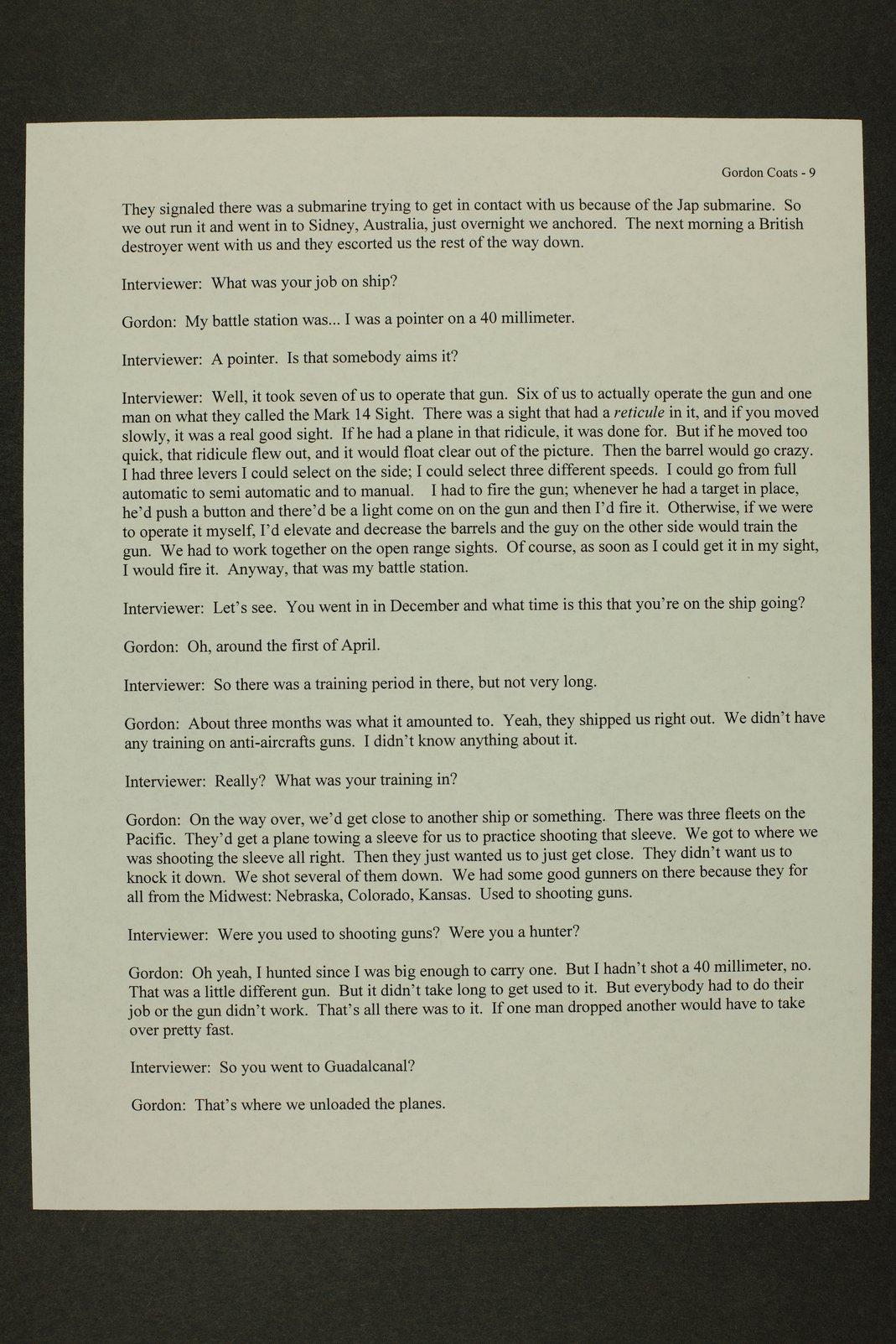 Gordon Lee Coats interview, WWII oral history, Kinsley, Kansas - 9