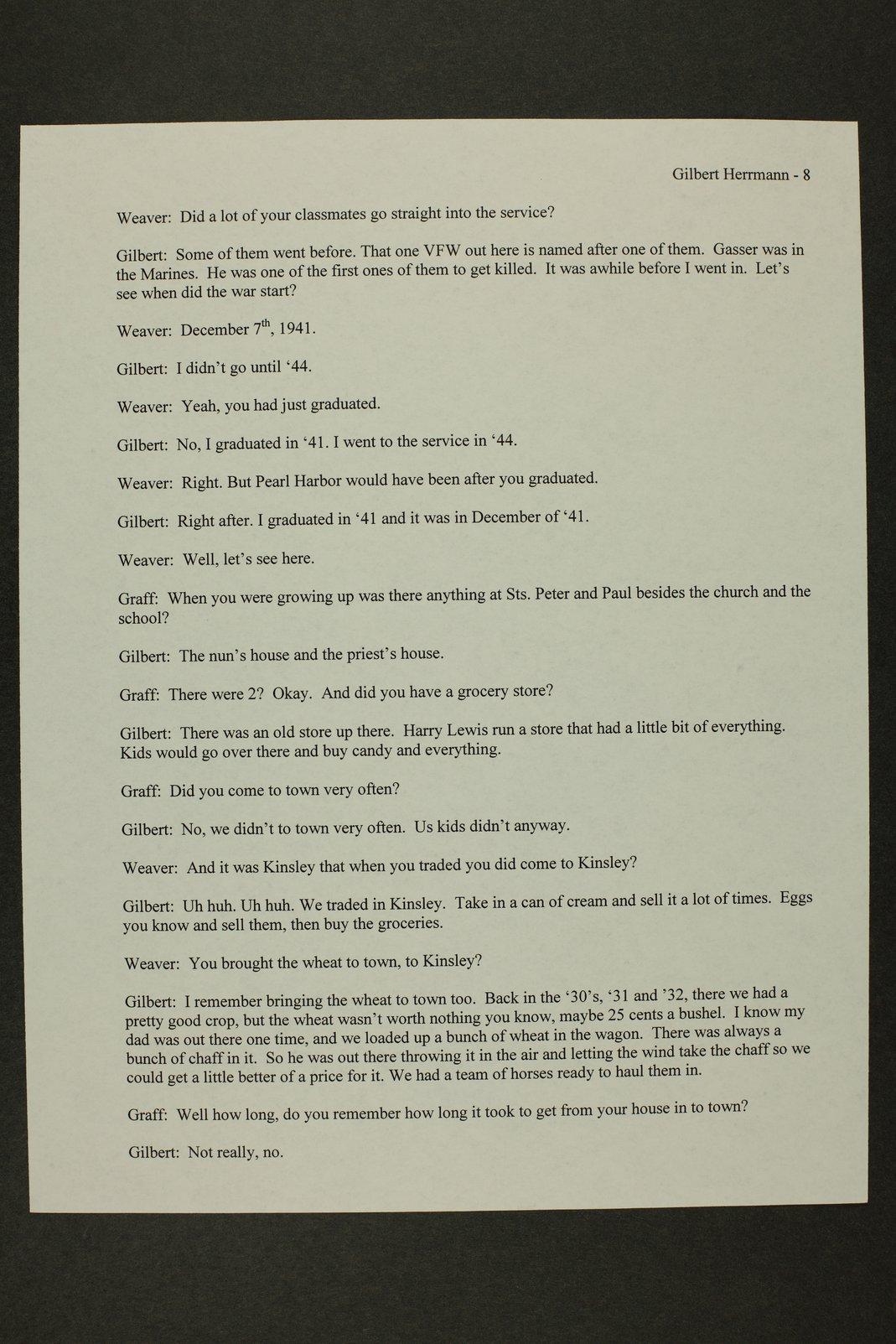 Gilbert Herrman interview, WWII oral history, Kinsley, Kansas - 8