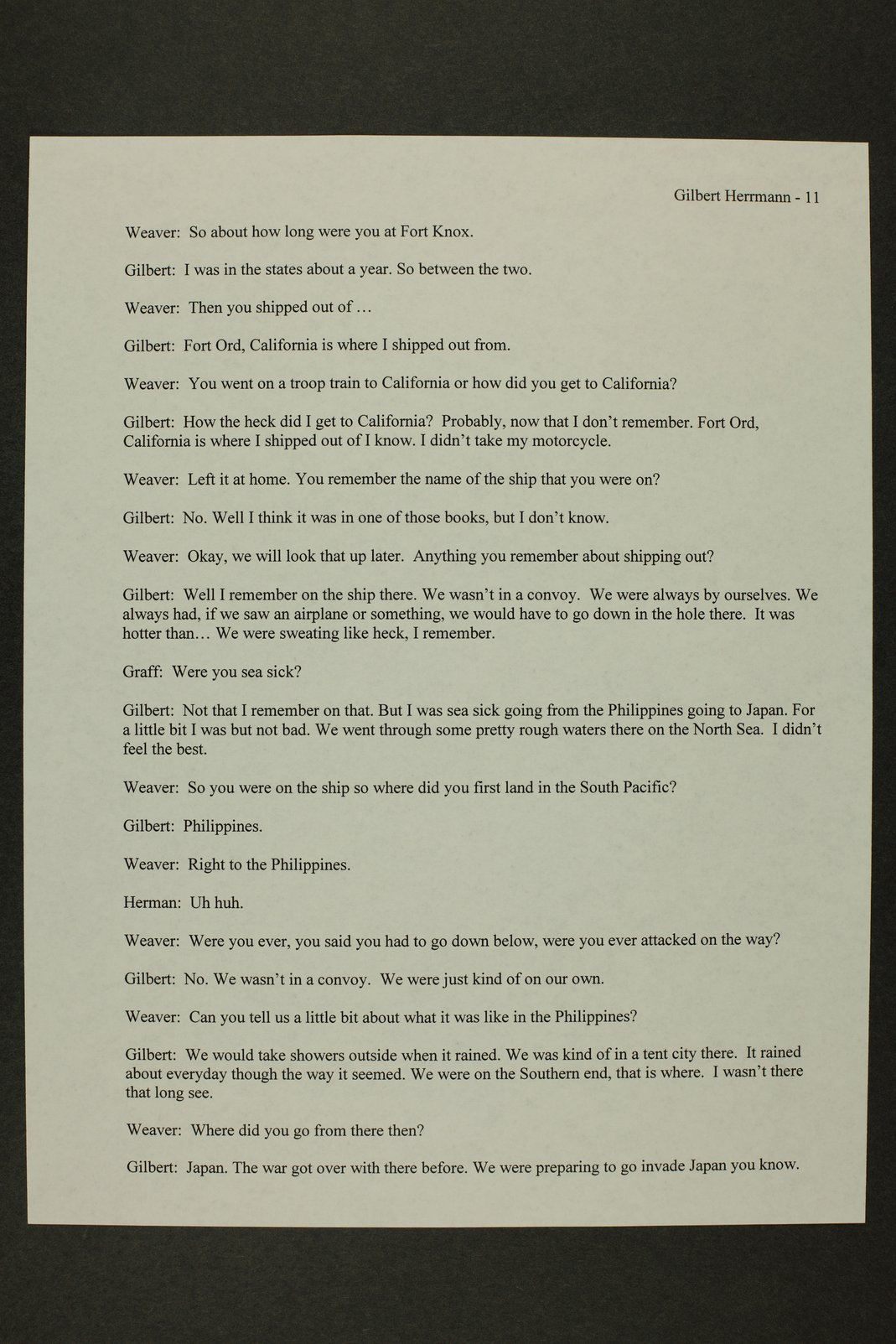 Gilbert Herrman interview, WWII oral history, Kinsley, Kansas - 11