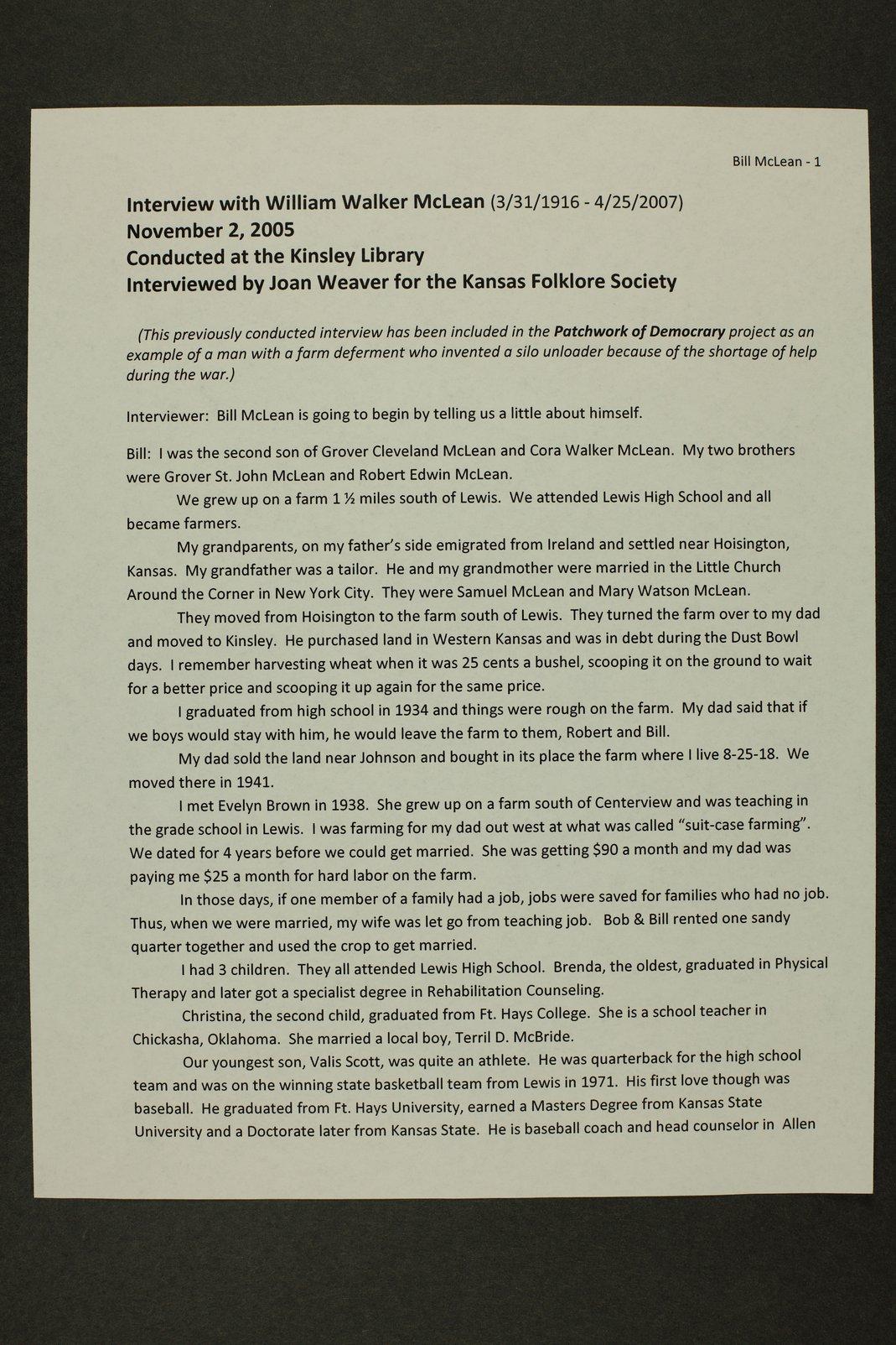 William McLean interview, WWII oral history, Lewis, Kansas - 1