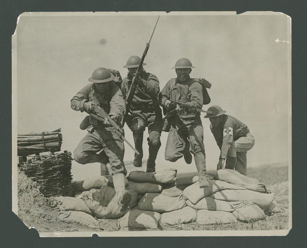 Recruits in combat training at Camp Funston, Kansas - 1