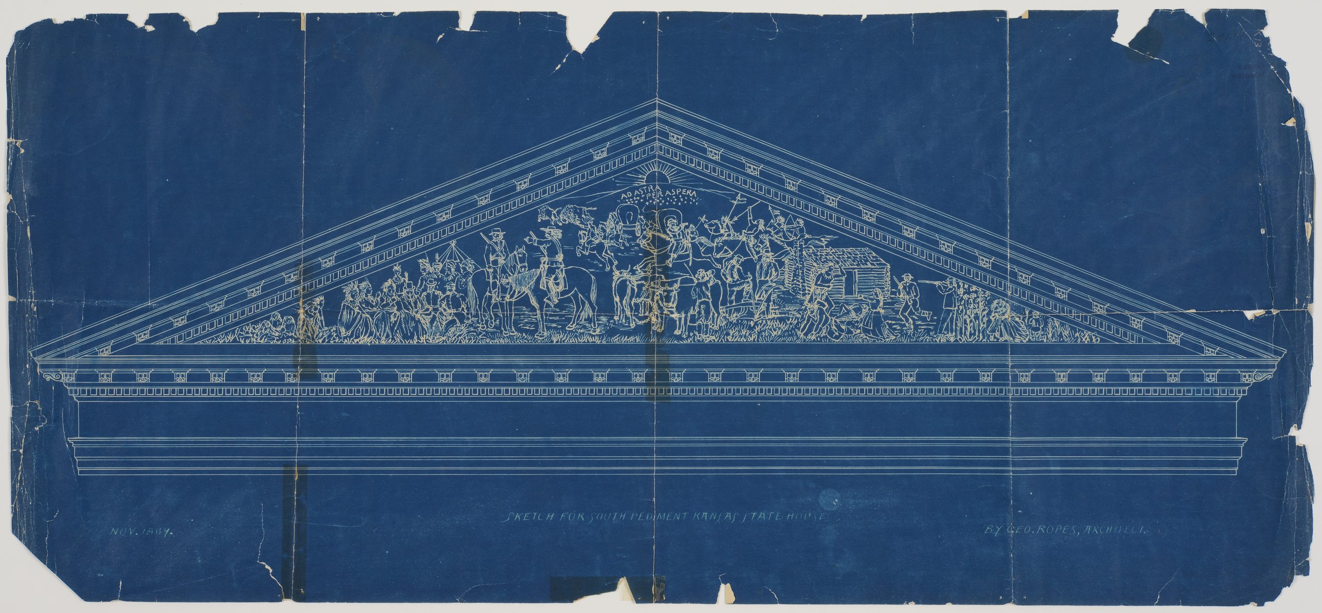 Sketch for the south pediment on the Kansas state house in Topeka, Kansas