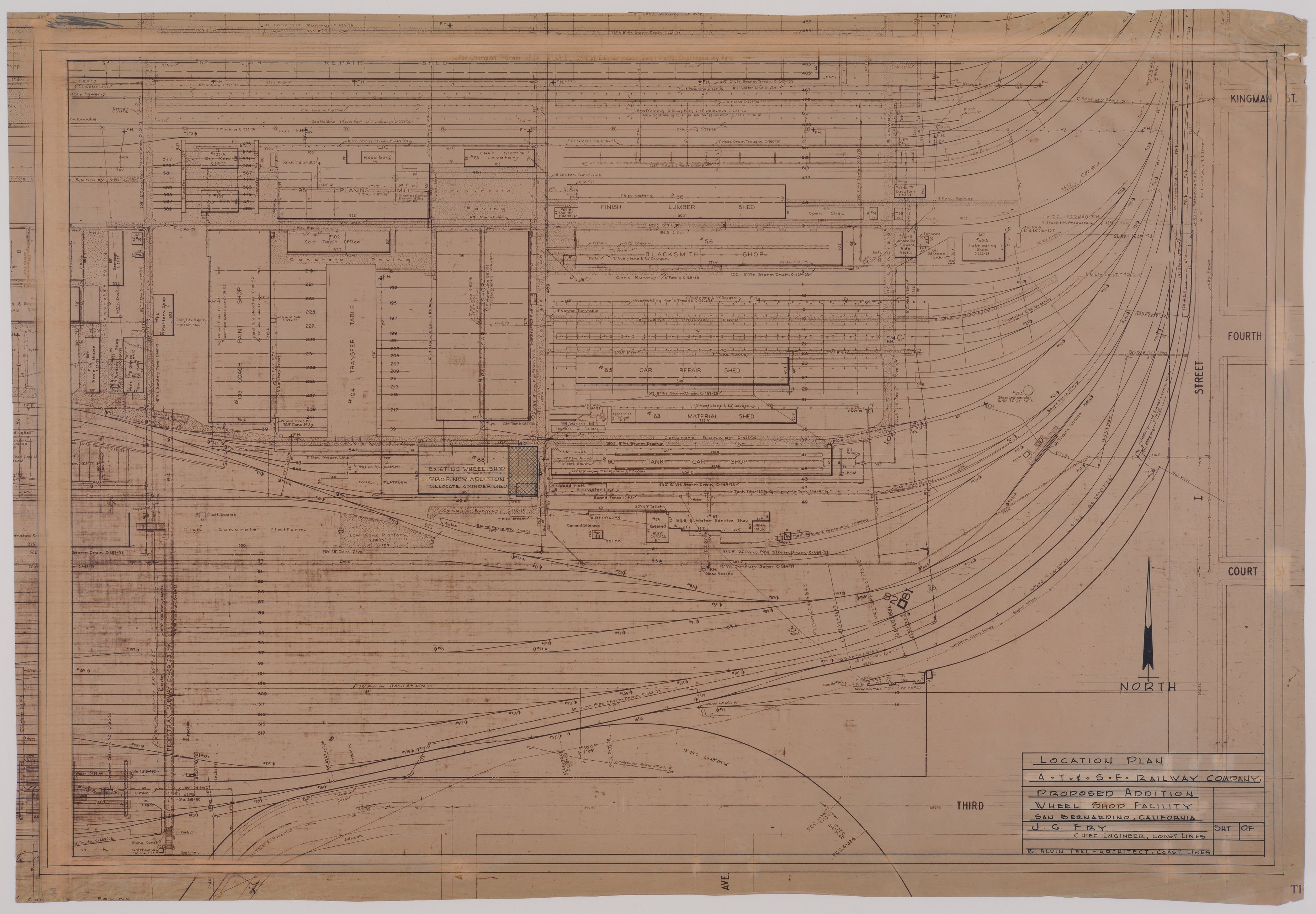 Drawing of Atchison, Topeka & Santa Fe Railway's proposed addition to the wheel shop facility in San Bernardino, California