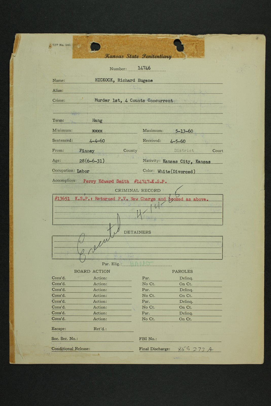 Richard Eugene Hickock inmate case file - 1
