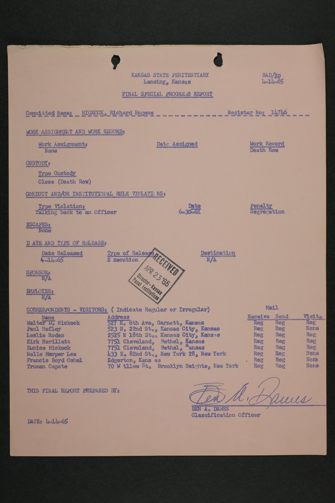 Richard Eugene Hickock inmate case file - 4