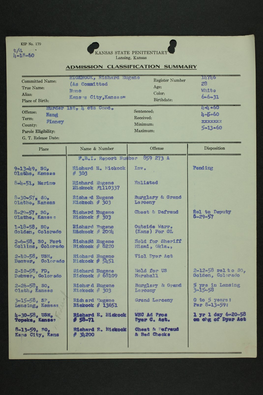 Richard Eugene Hickock inmate case file - 5