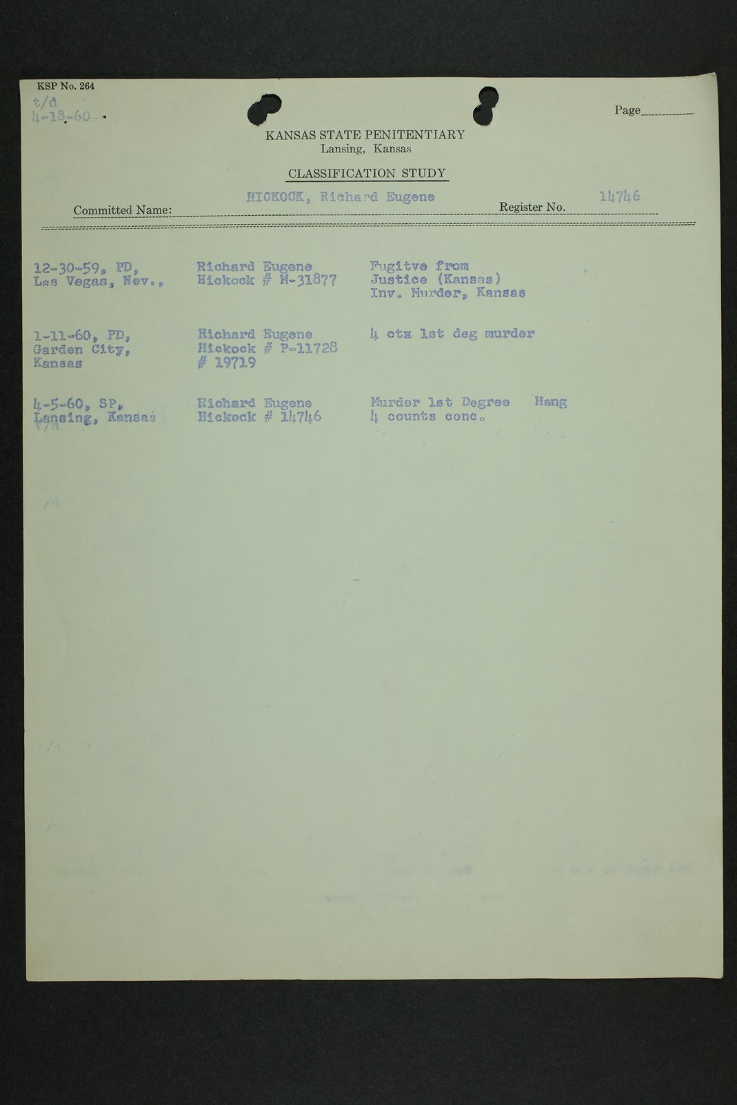 Richard Eugene Hickock inmate case file - 6