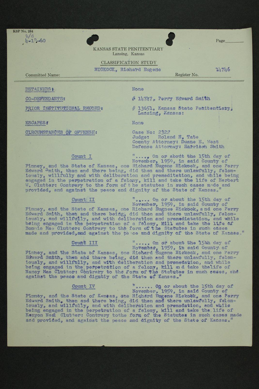 Richard Eugene Hickock inmate case file - 7