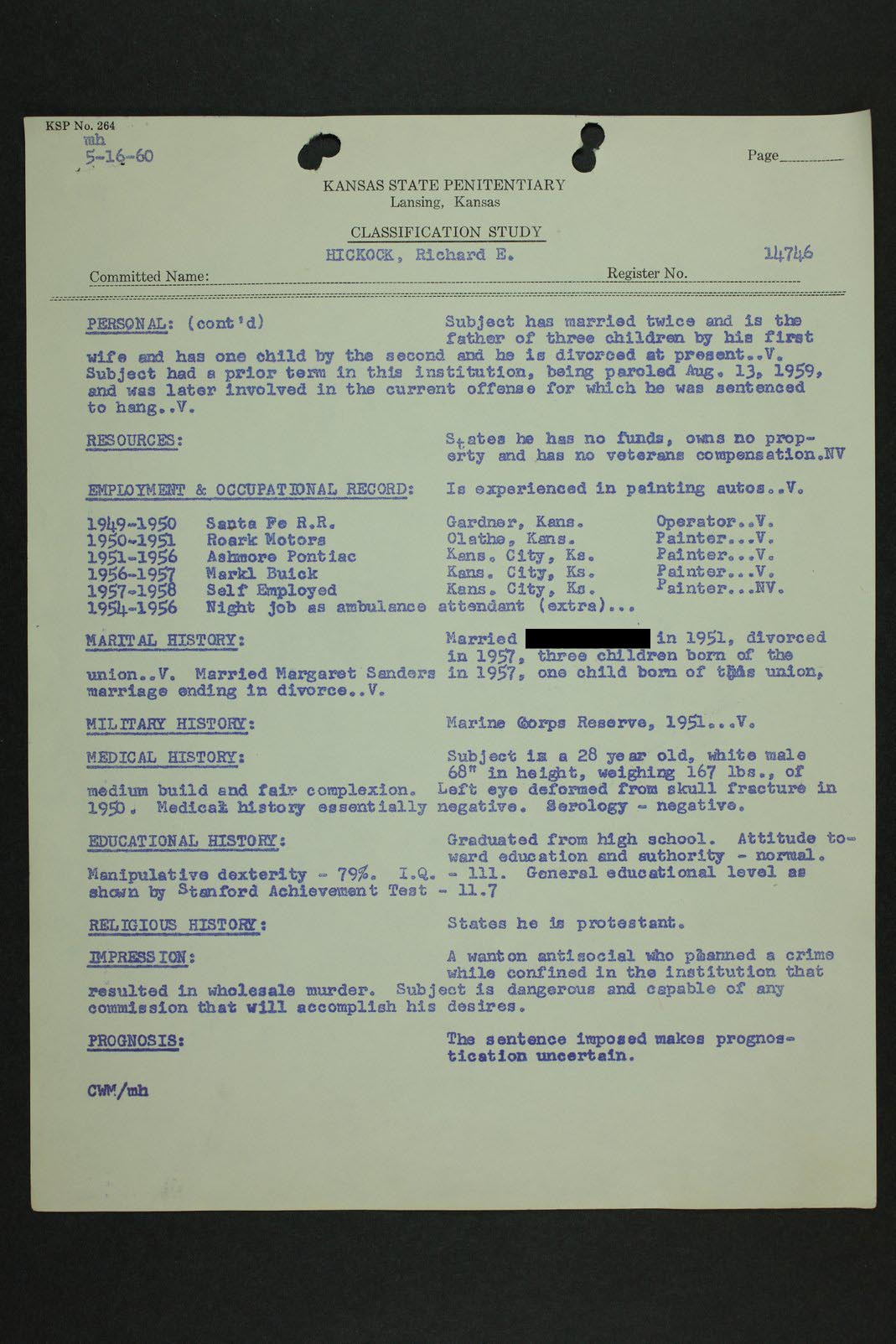 Richard Eugene Hickock inmate case file - 9