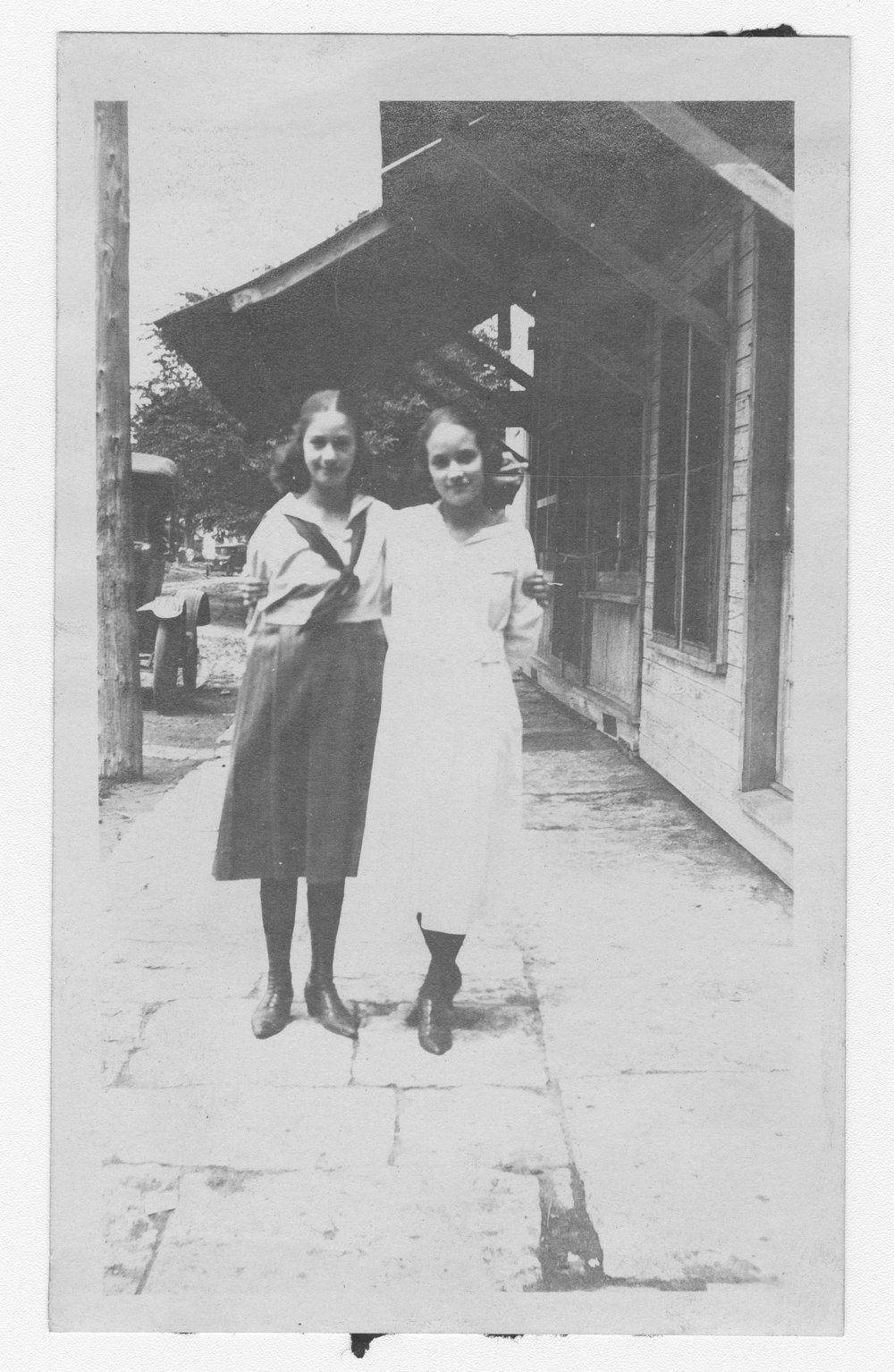 Nedra Cain and Esther Wolfe on South Elm Street in Perry, Kansas - 1