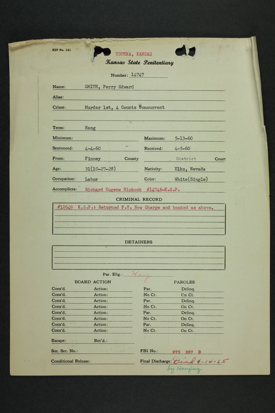Perry Edward Smith inmate case file - 1