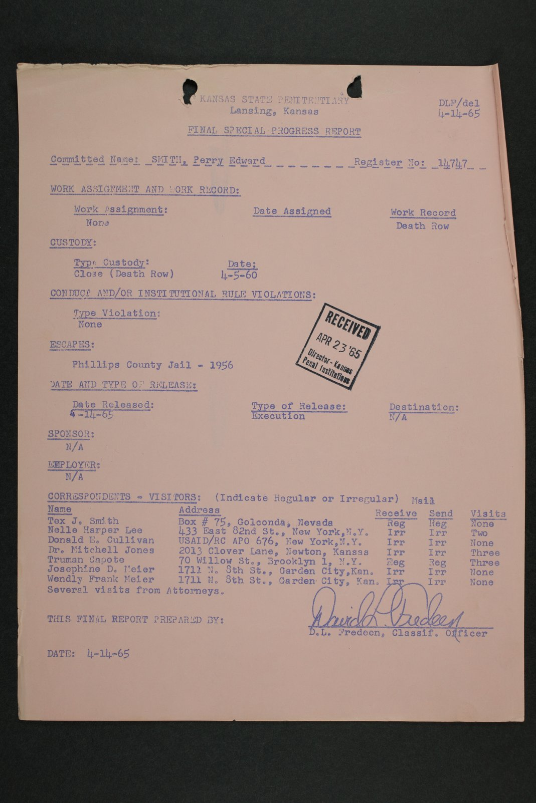 Perry Edward Smith inmate case file - 4