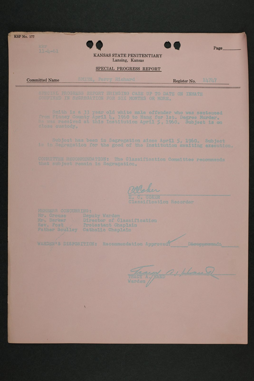 Perry Edward Smith inmate case file - 10