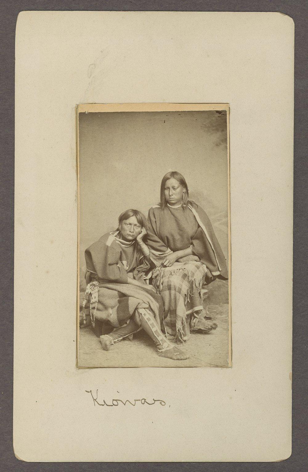Two Kiowa women in Indian Territory - 1