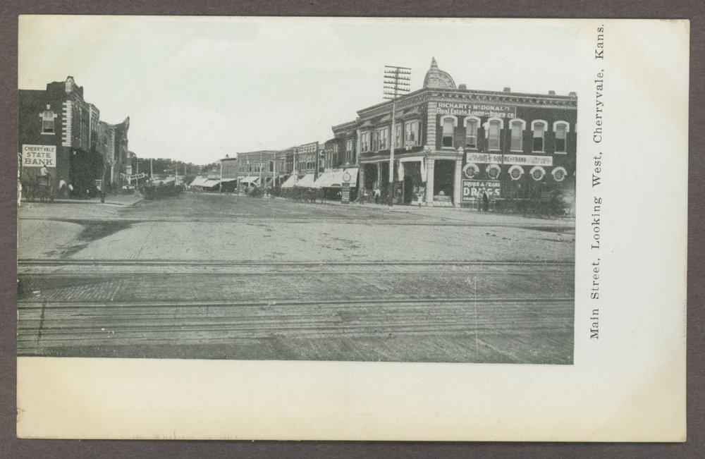 Main street looking west in Cherryvale, Kansas - 1