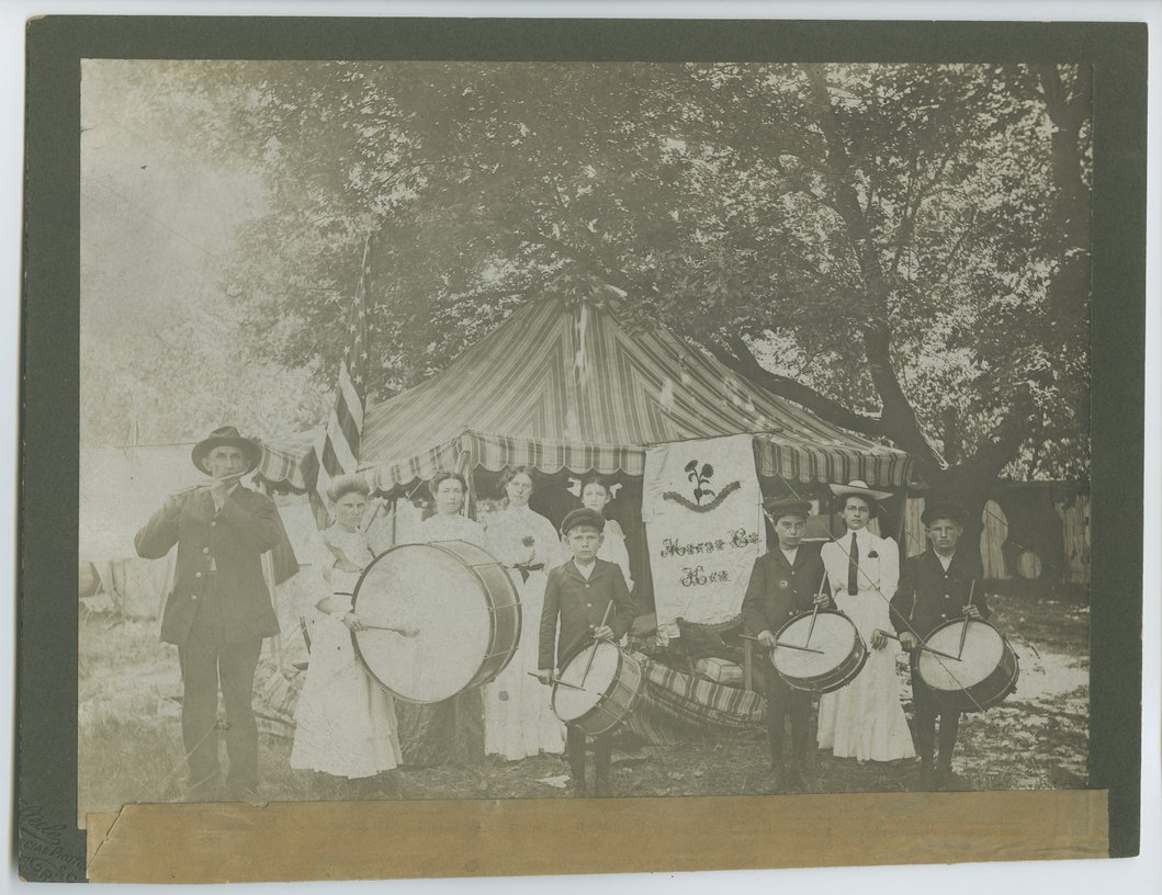 Major George Mallonee and his drum corps at the State Soldiers Home at Fort Dodge, Kansas - 1