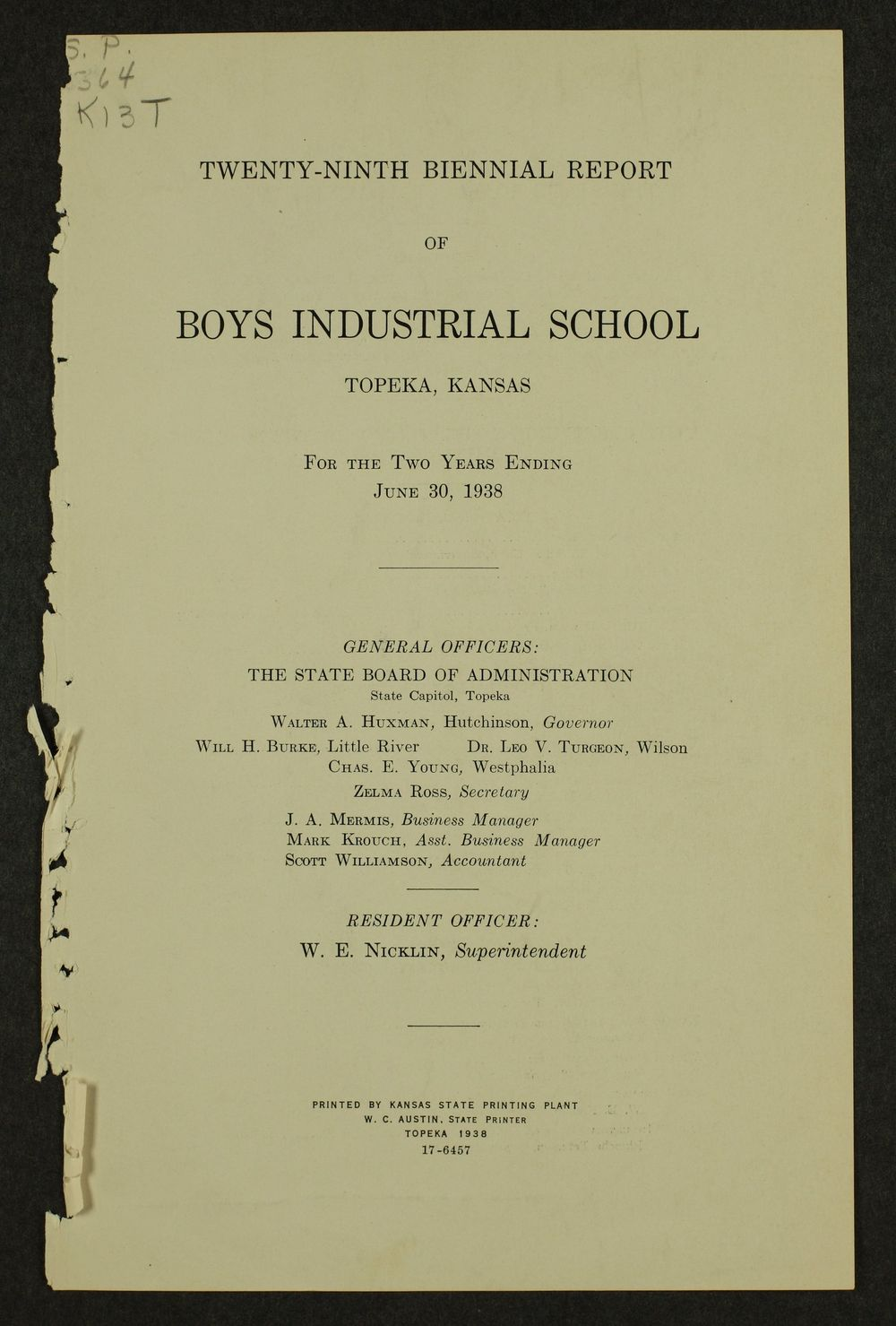 Biennial report of the Boys Industrial School, 1938 - 1