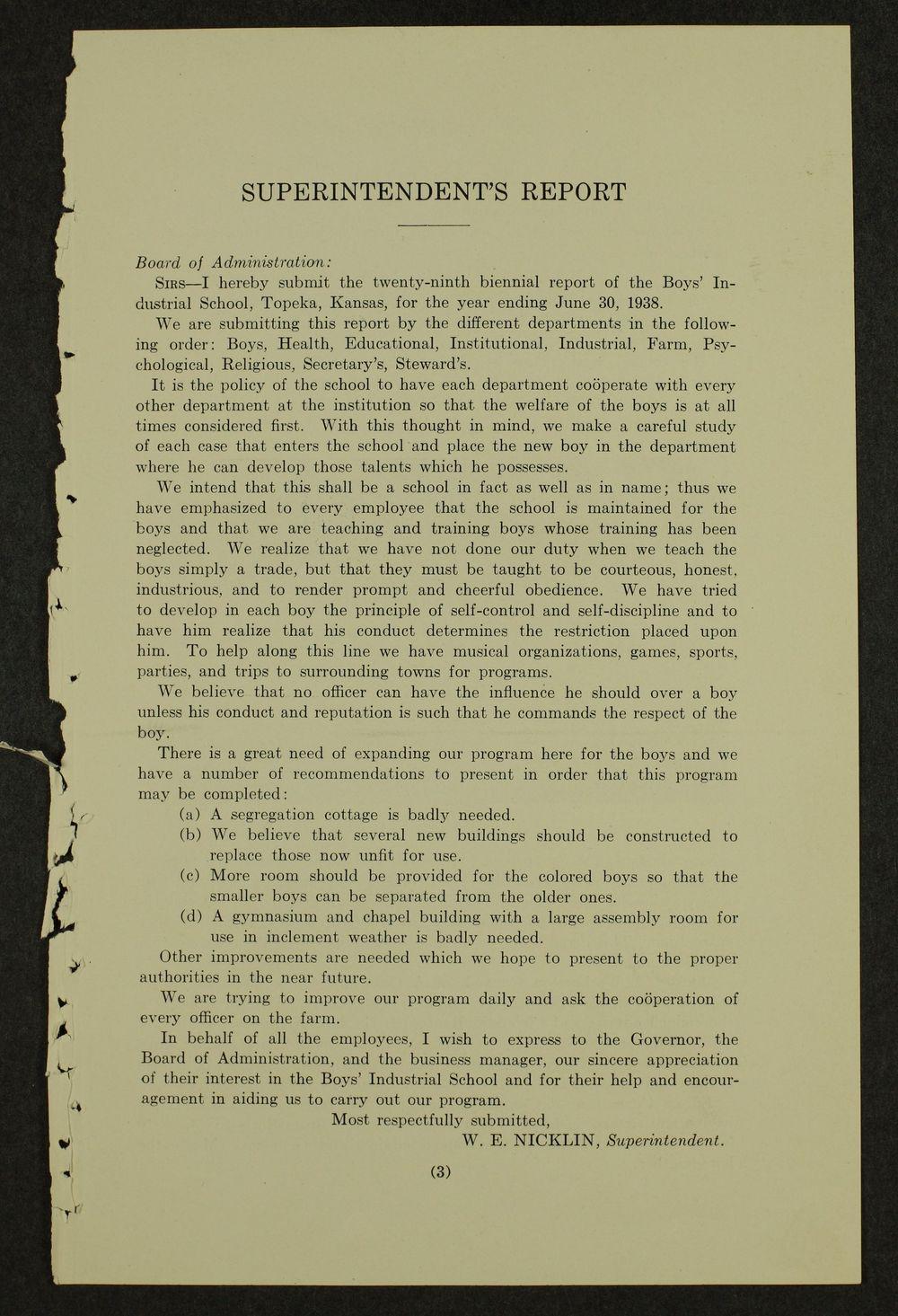 Biennial report of the Boys Industrial School, 1938 - 3