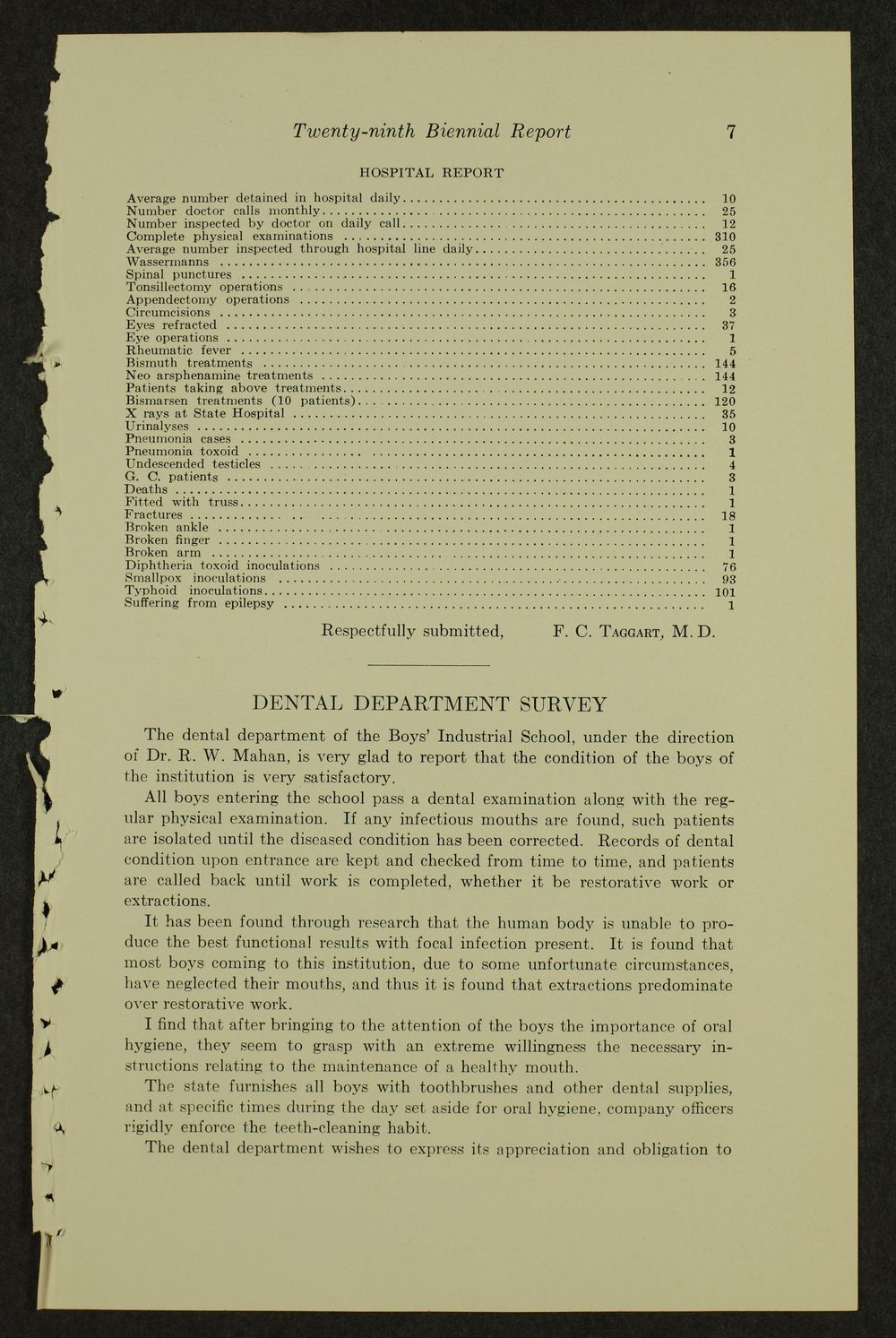 Biennial report of the Boys Industrial School, 1938 - 7