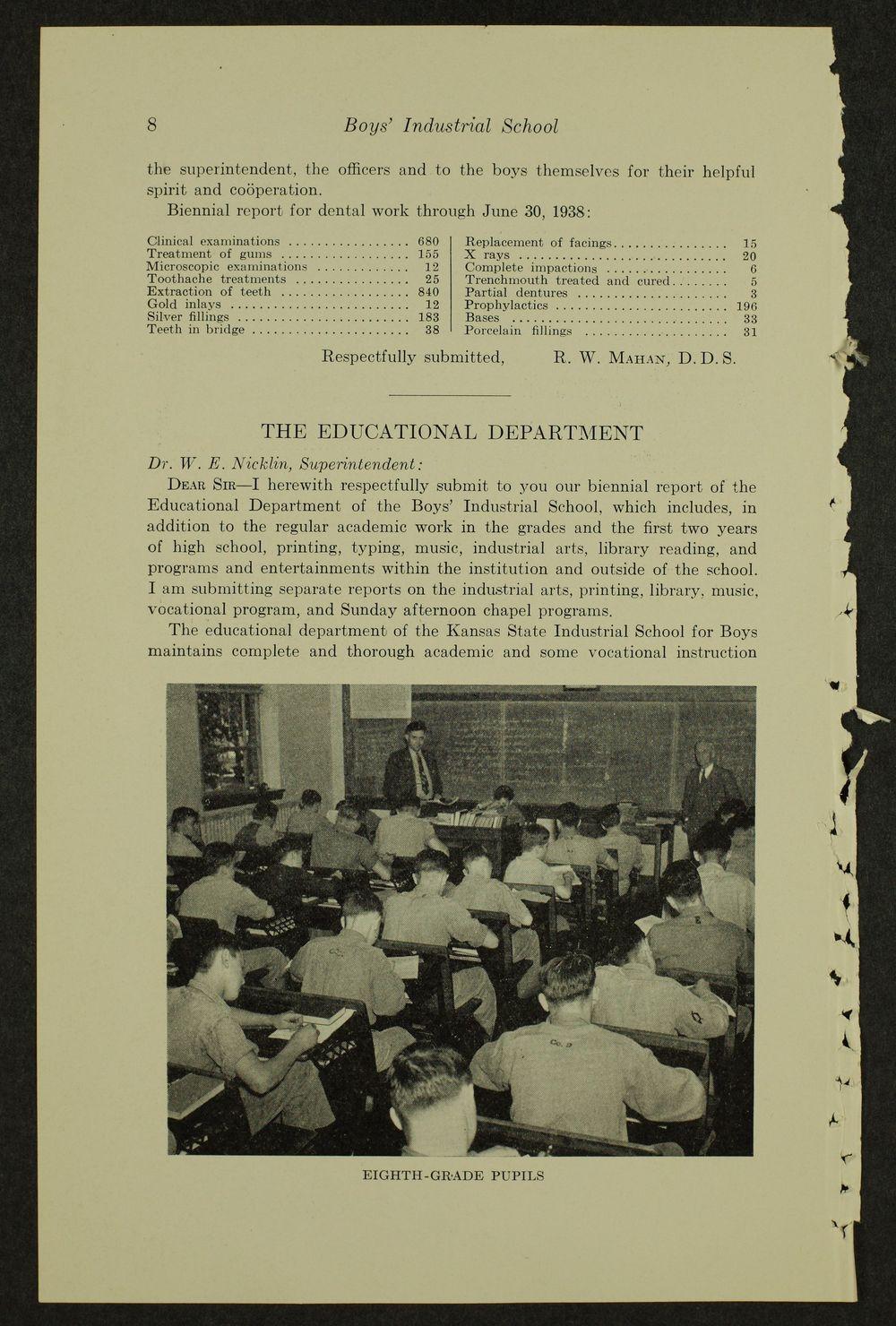 Biennial report of the Boys Industrial School, 1938 - 8