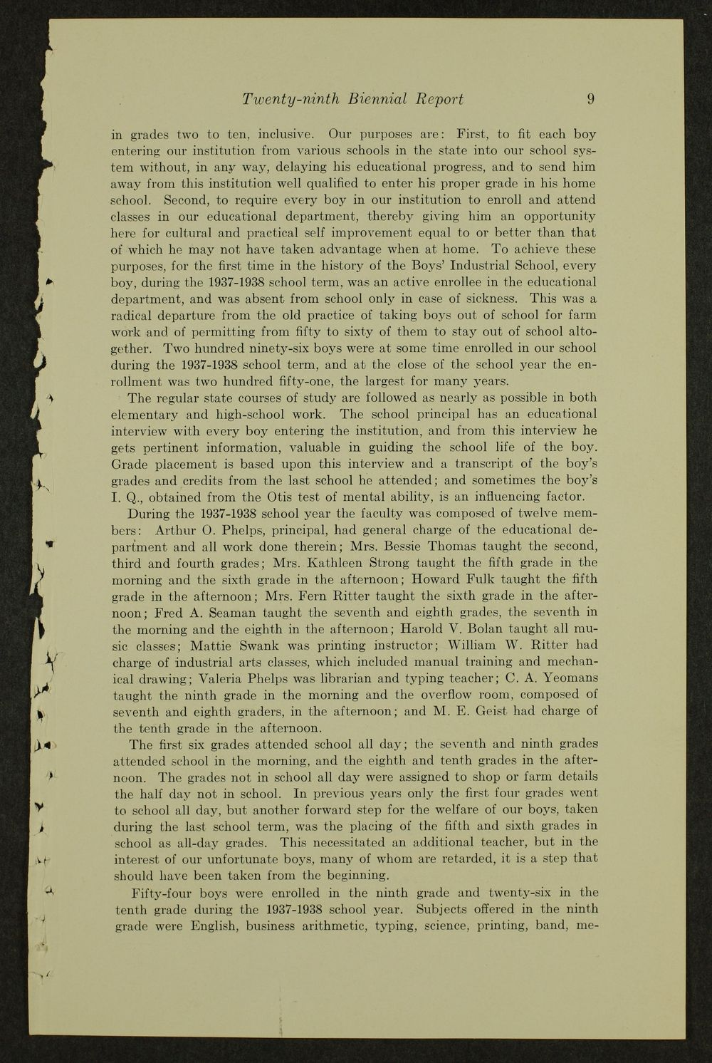 Biennial report of the Boys Industrial School, 1938 - 9