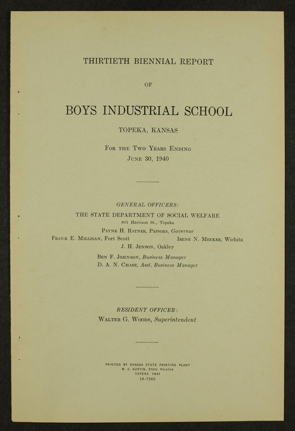 Biennial report of the Boys Industrial School, 1940 - 1