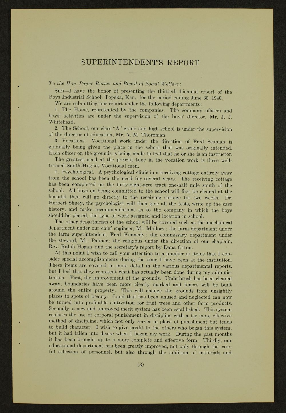 Biennial report of the Boys Industrial School, 1940 - 3