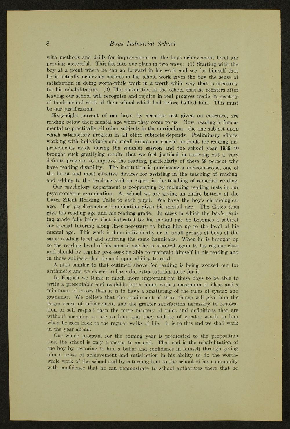 Biennial report of the Boys Industrial School, 1940 - 8