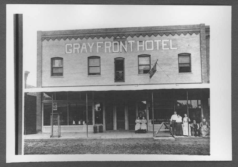 Scenes from Sherman County, Kansas - Gray Front Hotel at 1019 Main in Goodland, Kansas, about 1912.