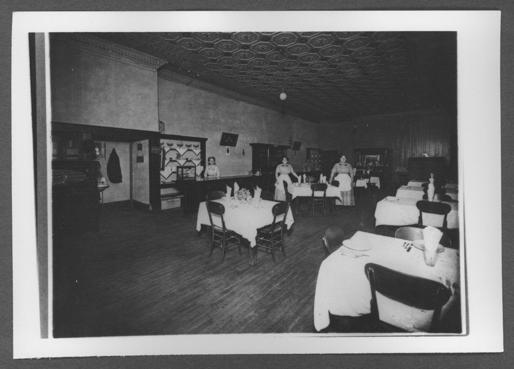 Scenes from Sherman County, Kansas - Dining room at the Gray Front Hotel in Goodland, Kansas, about 1912.