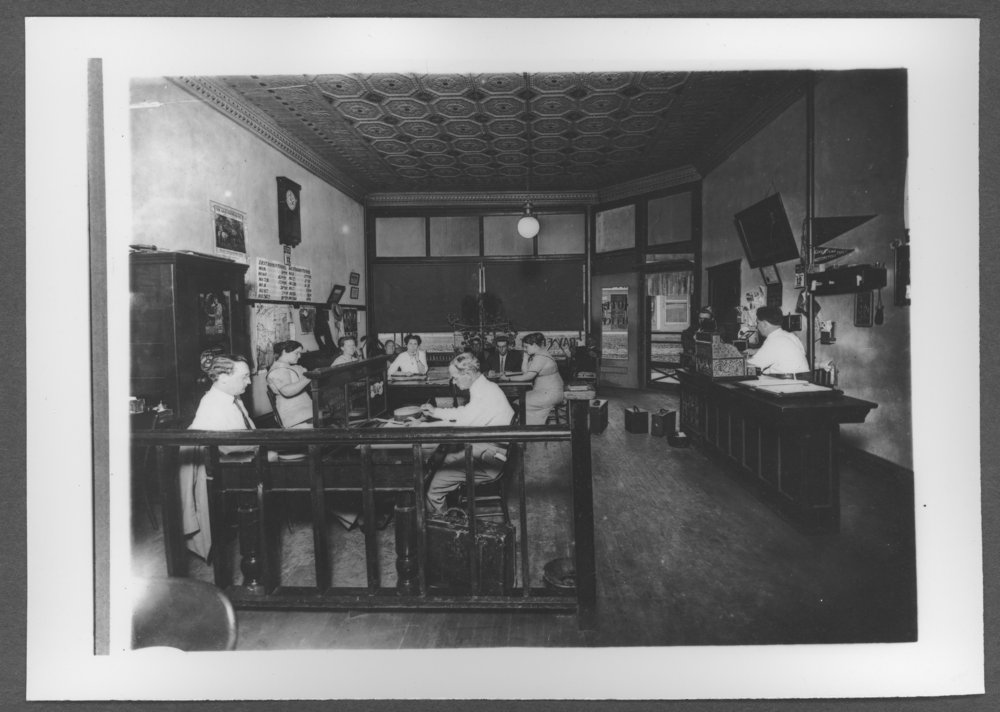 Scenes from Sherman County, Kansas - Gray Front Hotel office about 1912.