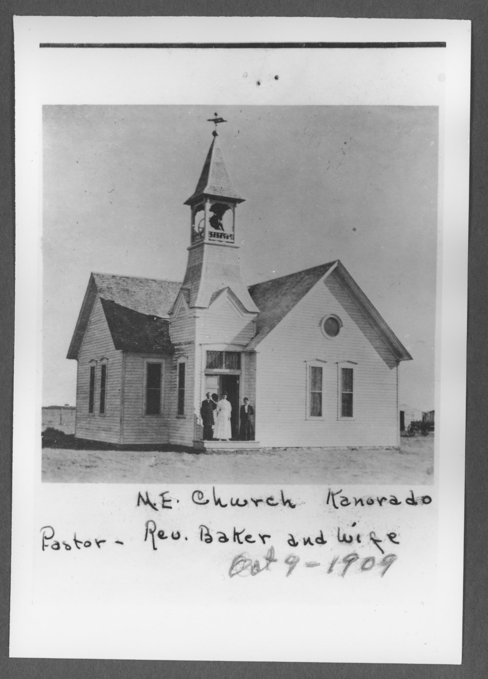 Scenes from Sherman County, Kansas - Methodist Episcopal Church on October 9, 1909, showing Reverend Baker and his wife, in Kanorado, Kansas.