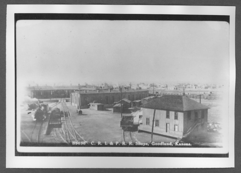 Scenes of Sherman County, Kansas - Railroad roundhouse and water service office.