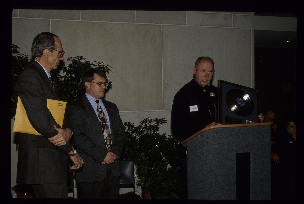 Kerry Livgren presenting his platinum record to Kansas State Historical Society - 1