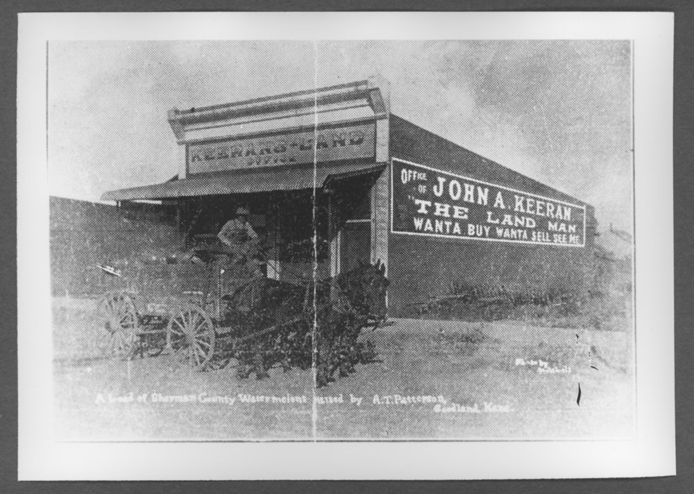 Scenes of Sherman County, Kansas - Goodland's first post office building and then the John A. Kuran building.