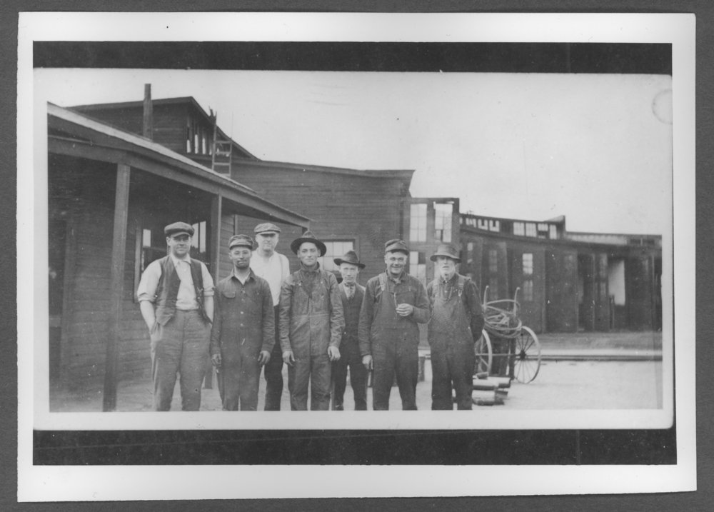 Scenes of Sherman County, Kansas - Store room workers at the railroad.