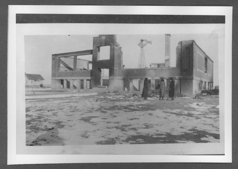 Sherman County, Kansas depot and school - The second school building after a fire, Kanorado, Kansas, December 9, 1919.