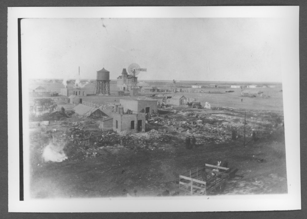 Scenes of Sherman County, Kansas - Fire on the west side of Main, 9th to 10th streets, January 1903.