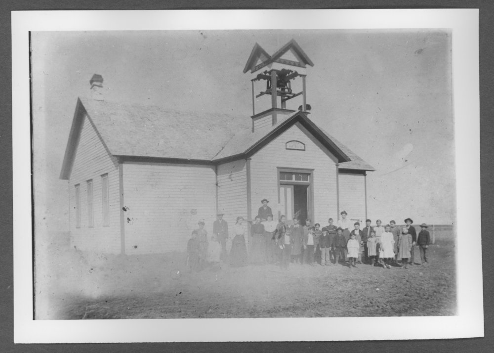 Scenes of Sherman County, Kansas - Edson School with students.