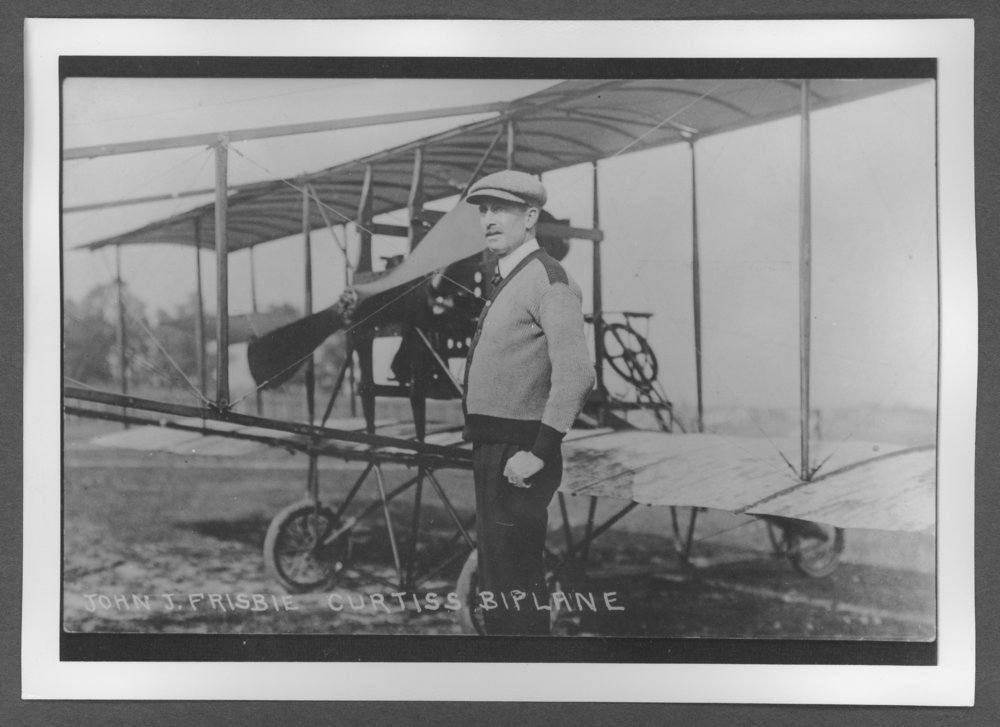 Scenes of Sherman County, Kansas - John J. Frisbie, pilot of the Curtiss